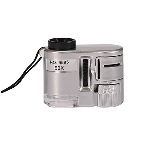 1 pz Brand New Mini Lens 60X Pocket Magnifier Microscope con LED Light Gioielli Gioielliere Loupe Currency Dectector