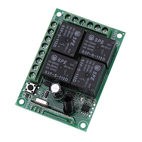 12 V 433 MHz 4CH controller per interruttore wireless RF, interruttore per telecomando wireless, modulo ricevitore per apri porta di garage per auto