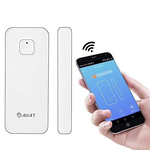 AIIAT - Sensore wireless intelligente per porte e finestre, difende da ladri e irruzioni, per casa e ufficio, compatibile con applicazioni Amazon Alexa, Google, IFTTT, SmartLife