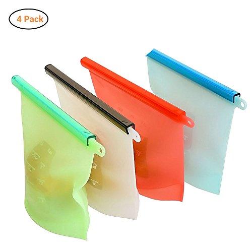 AimdonR silicone alimentare bag, sacchetto di cottura 4pcs-1000ml-reusable ermetica conservazione contenitore sottovuoto, cottura//pranzo/snack/sandwich/sacchetti freezer