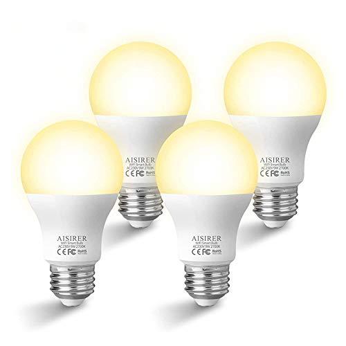 AISIRER Lampadina LED Intelligente, Lampadine Smart Luce WiFi E27 Dimmerabile 2700K Luce Bianca Calda,9W Equivalente a 60W, Controllo Tramite App Funziona con Amazon Alexa Echo e Google Assistant
