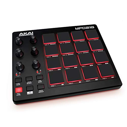 AKAI Professional Pro MPD218 Controller MIDI USB con 16x3 Pad MPC, 6x3 Manopole + Ableton Live Lite, MPC Essential e Strumenti Virtuali SONiVOX