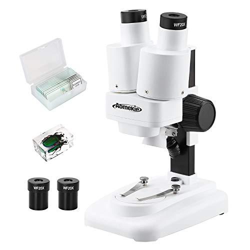 Aomekie Microscopio Bambini 20X & 40X Microscopio Stereo Binoculare Zoom 3D con LED per Bambini E regali di Natale