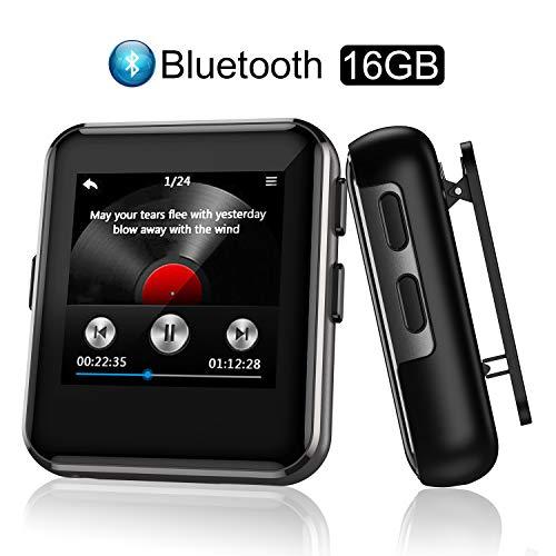 Arbily Lettore MP3 Bluetooth 16GB, MP3 Lettore Musica con Clip per Sport e Corsa, MP3 con Radio FM, Registratore Vocale