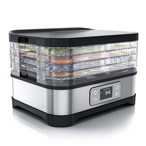 Arendo - Essiccatore Elettrico a 5 ripiani - 260 W - Disidratatore per alimenti frutta verdura carne funghi - timer fino a 72 h - 35-70 gradi C - BPA Free