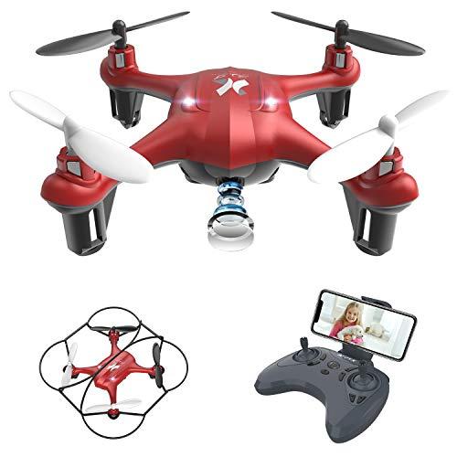 ATOYX AT-96 FPV Mini Drone con Telecamera, 2.4GHz 4CH a 6 Assi Gyro RC Quadcopter Drone con HD Camera modalità di Senza Testa, 3D Flips Funzione Adatto per Principianti Bambini (Rosso)