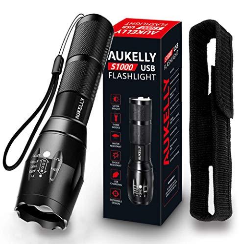 AUKELLY LED Torcia Ricaricabile USB Torce Ricaricabili 1000 Lumens,Super 3 modalità,Luminoso,1000 Lumen Torcia LED Potente,Impermeabile Torcia,Adatto per il campeggio,18650 Batterie Inclusa