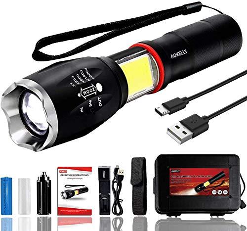 Aukelly Torcia LED Ricaricabile Super Luminoso 1000 Lumens Torcia Tattico Regolabile Focus LED Torcia Portatile Campeggio Impermeabile 6 Modalità Luce Elettrica Con Batteria e Caricabatteria