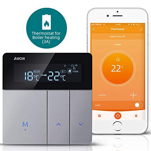 AWOW Termostato WiFi per Caldaia a Gas/Acqua,Termostato intelligente Programmabile Con Schermo LCD Touch Button,Controllo Remoto Tramite Smartphone con Google Home Alexa AC220V 3A