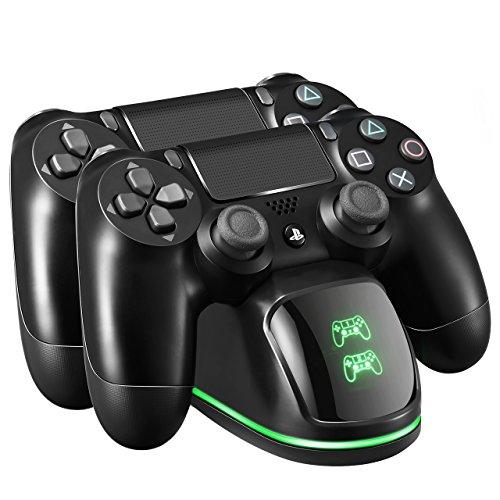 Base di Ricarica Doppio per Controller PS4, Stazione di Ricarica con Indicatore LED, Caricabatterie PS4 Funziona con Joypad, PlayStation 4, PS4 Slim e PS4 Pro