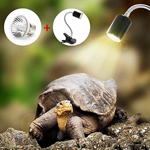 Basking Lampada Alogena Calore 25W UVA UVB per Rettili Lucertola Tartaruga Acquario riscaldata per acquari Illuminazione da 25 W UVA UVB con Base Rotazione Lunga da 360 ° per rettili e Anfibi