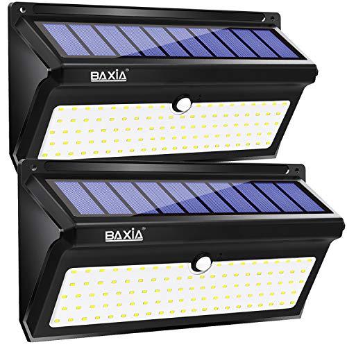 BAXiA 2000LM Lampade Solari Led da Esterno, 100 LED Luci Solari Giardino, Luce Solare Led Esterno con Sensore di Movimento Lampada Solare per Giardino, Portico, Cortile, Garage,2 Pezzi