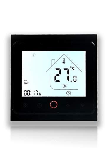 Beca Serie 002 Touch Screen Termostato ambiente Due/quattro tubi per climatizzatore Fan Coil con connessione WiFi per supporto Intelligent Voice (Due tubi, Completamente nero)