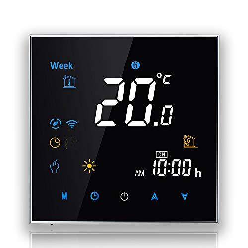 BecaSmart 3000 serie Touch screen LCD 3A Riscaldamento della caldaia Termostato di controllo della programmazione intelligente con connessione WIFI (Riscaldamento della caldaia, Nero(WIFI))