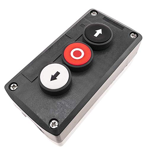 BeMatik - Scatola di Controllo con 3 Pulsanti momentaneo con frecce 2NO e Stop 1NC