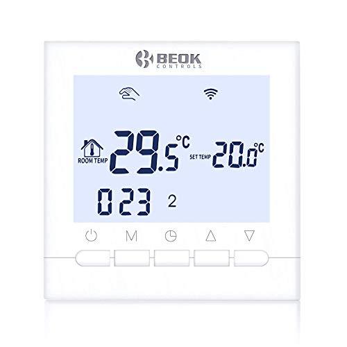 Beok BOT-313 Termostato Wifi Per Caldaia a Gas, Programmabile Con Schermo LCD, Controllo Remoto Tramite Smartphone con Google Home y Alexa AC220V 3A