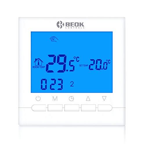 Beok Termostato Caldaia a Batteria Programmabile BOT313W Ambiente Termostato da parete, Alimentato da Batteria AA Retroilluminazione Blu, 1,50 voltV (Blu)