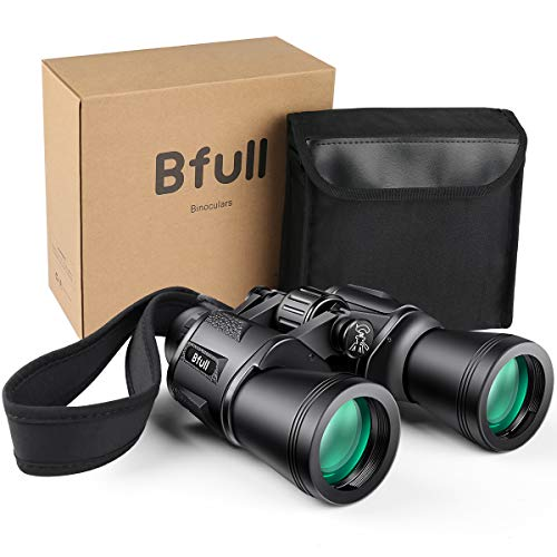 BFULL 12x50 Binocolo, Portabile Telescopio con Sacchetto di Trasporto, Cinghia e Panno per Pulizia Tappi per Lenti, per attività all'Aperto, Sport Stadio, Bird-Watching, Concerti