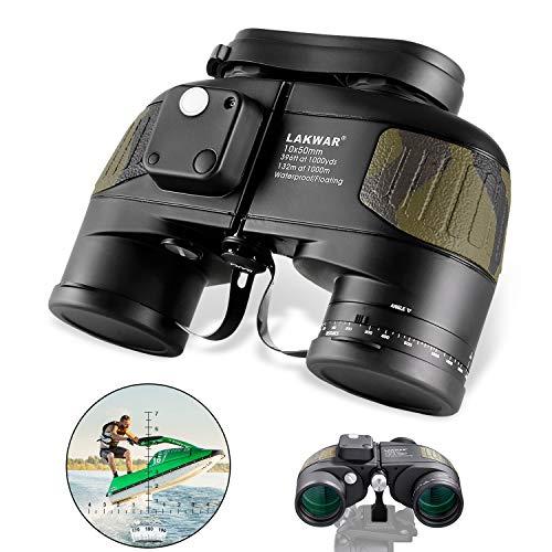 Binocolo LAKWAR 10x50 per Lunghe Distanze, Binocoli Compatti per Adulti con Bussola e Telemetro, Binocoli di Ad alta potenza con Prisma BAK4, Impermeabili per Osservazione Uccelli Caccia
