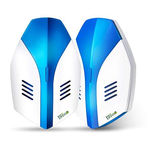 Blisso Repellente ad Ultrasuoni Elettromagnetico Efficace, Elettrico Repeller Ultrasonico Contro Zanzare Tropicali Topi Parassiti Ratti Mosche Scarafaggi Ragni(2 Pack)