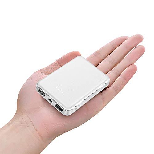 BOTKK Mini PowerBank 5000mAh, Caricatore Portatile 5000 mAh,Batteria Compatta da 5000 mAh con Potenza 3.4A, 2 Porte USB, Caricabatteria Portatile per Smartphone e Tablet