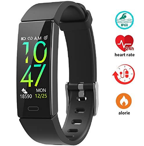 Bracciale Fitness, Braccialetto Fitness Tracker Cardiofrequenzimetro Contapassi da Polso Smart Watch Activity Tracker IP67 Compatibile IOS Android, Pedometro Conta Calorie e Cardiofrequenzimetro-Nero