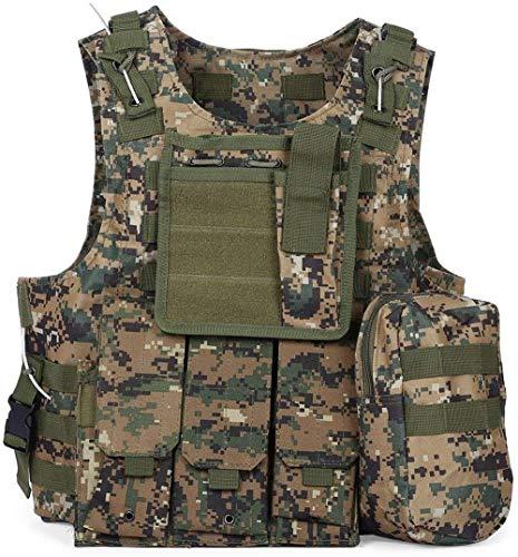 Caccia Tattico Gilet Regolabile Esercito Militare Assault Combat Vest, Airsoft Paintball Assault Carrier Gilet, Gilet protettivo da gioco per giungla all'aperto
