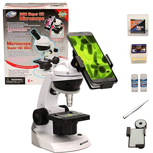 CFtrum Scienza Microscopio Giocattolo con Adattatore per Smartphone per catturare Immagini - 60x 120x 200x con Tanti Strumenti Sperimentali per i Bambini e Gli Studenti
