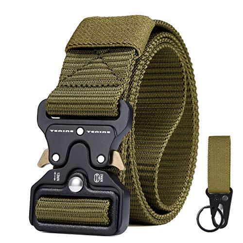 Cintura Tattica, Cintura Regolabile Tattica di Sicurezza Cintura con Fibbia Cobra Cintura Resistente di Salvataggio per Sport e Caccia All'aria Aperta Cintura Militare (Nero)