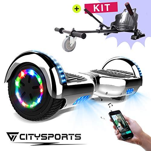 CITYSPORTS Scooter Elettrico 6.5 Pollici, Scooter Elettrico dell'equilibrio di Auto, Ruote Leggere del LED, Bluetooth, Motore 700W