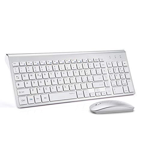 Combo tastiera e mouse wireless TopMate | Tastiera ultra sottile con mouse muti | Progettato per uso ufficio e casa dolcemente | Bianco