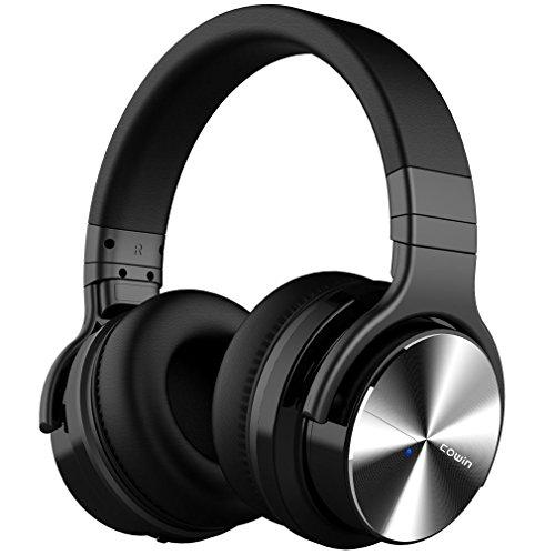 COWIN E7 PRO [2018 Aggiornato] Bluetooth Cuffie con mic a cancellazione del rumore attivo Hi-Fi 30H - Cuffie Over-Ear Wireless con Microfono - Nero