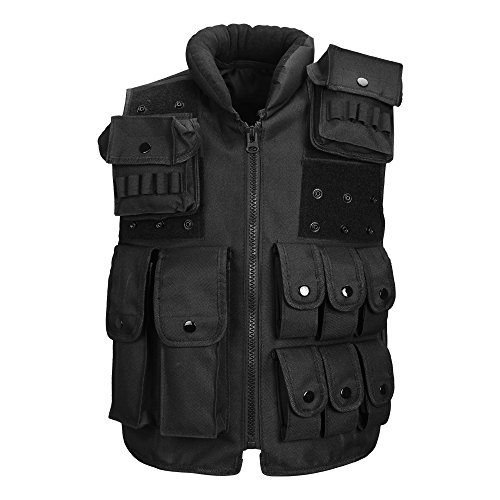 CS Airsoft Paintball Hunting Premium Poliestere Gilet Army Wargame Outdoor Full Protection Gilet tattico con Molle Attachment Nero