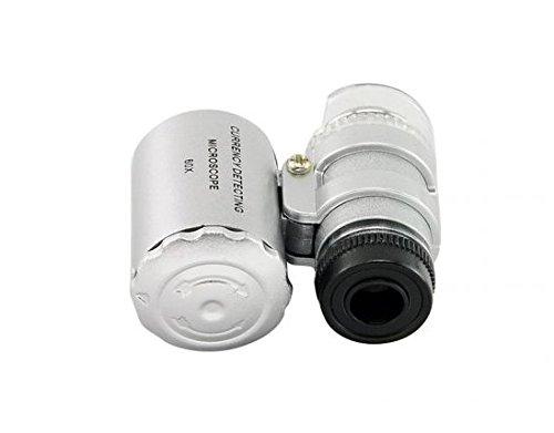 Denshine 60X Lente di Ingrandimento Microscopio Portabile e Tascabile con luce LED