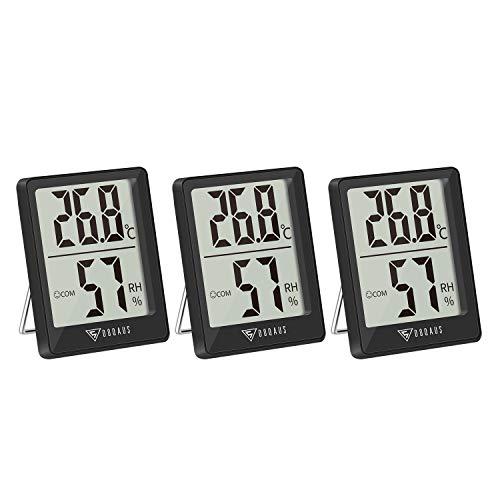 DOQAUS Mini Termometro da Interno, 3 Pezzi Termometro Igrometro Digitale Icona di Comfort Casa Monitor di Temperatura e umidità per Ambienti Misura Temperatura & umidità per Serra Stanza (Nero)