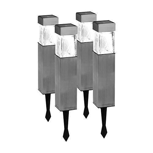 Duracell, lampade solari da giardino, per vialetti/prati/aiuole, in acciaio INOX, Acciaio, Silver, 0, led, a pile