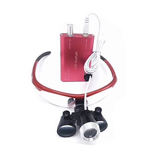 DX.JZ Dentale Binocolo Chirurgico Fascia per Capelli occhialini 2.5X Lente d'Ingrandimento con Fari, Vetro Ottico Loupe Lente d'Ingrandimento Medica