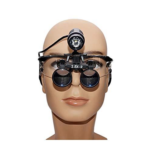 DX.JZ Lente d'Ingrandimento Medica Dentista Chirurgico Dentale Lenti di ingrandimento mediche 2.5X 3.5X Vetro Ottico Montatura per Occhiali con Faro a LED,2.5X