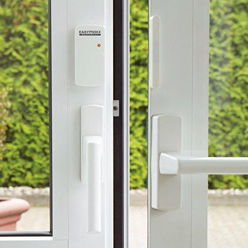 EasyMaxx 02481Security Allarme per porte e finestre sensore magnetico di ingegneria, 110dB, non necessita di forare, senza fili, telecomando incluso, Bianco