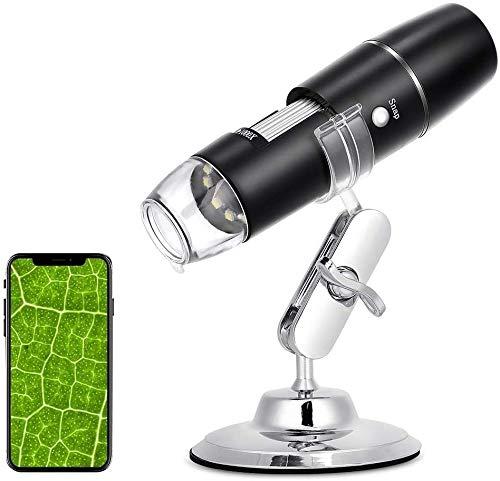 eecoo Microscopio Digitale WiFi, Microscopio Tascabile Portatile Ricaricabile HD, Endoscopio Ingrandimento 1000X, 8 LED, USB 2.0, Supporto in Metallo per iPhone iOS Android iPad