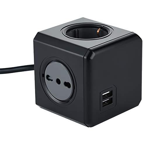 Electraline 62099 Multipresa Cubo Powercube 4 Posti con 2 USB 2.1A, 2 Schuko + Spina Italiana, 2 Bivalenti 10/16 Italiane, Colore Nero, Cavo 1.5M