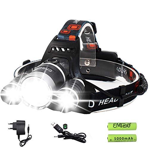 EMIDO Lampade da Testa LED, Ricaricabile Usb 6000 Lumen Lampada Frontale, Luce Frontale Impermeabile Zoomable 4 Modalità - perfetto per correre, campeggio, corsa, speleologia, pesca