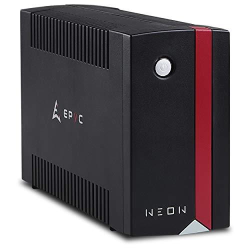 EPYC Neon UPS, Gruppo di Continuità per PC, Potenza 1000VA/600Watt, Tecnologia Line Interactive, AVR, Nero