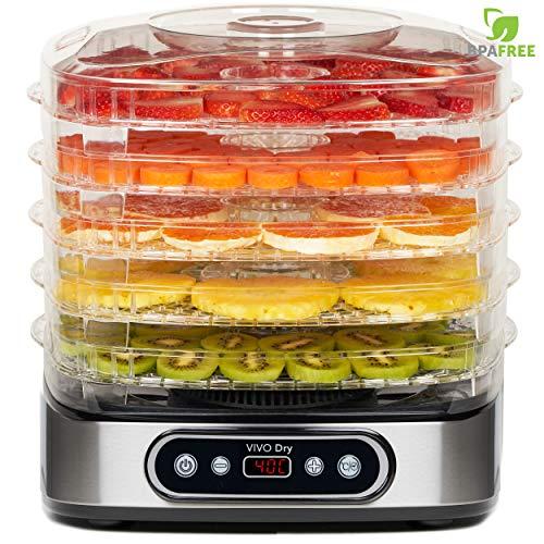 Essiccatore VIVO Dry, 5 Ripiani BPA-Free con Altezza Regolabile, Essiccatore Frutta e Verdura Professionale. Temperatura da 35-70℃ per Carne, Frutta, Verdura e Noci