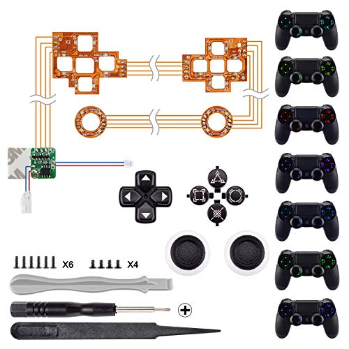 eXtremeRate Luminated D-pad Thumbsticks Face Buttons (DTF) Kit LED per controller PS4 7 colori 9 modalità Touch Control con simboli classici Pulsanti