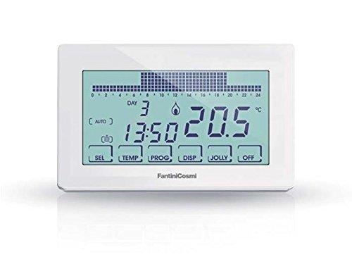 Fantini Cosmi CH180 Cronotermostato Touchscreen Retroilluminato a Batterie, 12,8 x 2,4 x 8,2 cm, Bianco