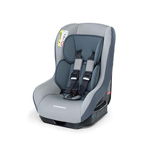 Foppapedretti Go! Evolution, Seggiolino auto , Argento, Gruppo 0/1 (0-18 Kg) per bambini dalla nascita fino a 4 anni circa