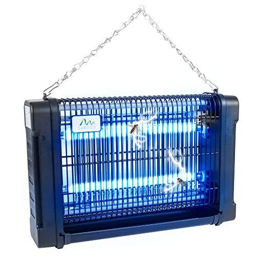 Gardigo Zanzariera Elettrica Lampada Insetticida Ammazza Anti Zanzare Mosche con Luce UV Ultravioletta Trappola per Insetti Interno e Esterno Cassettino Raccogli Insetti Catena di Sospensione