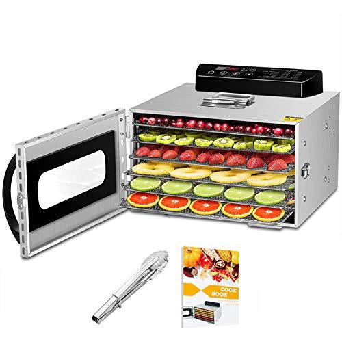 GCSJ 6 Piani Essiccatore Frutta e Verdura in Metallo, 30-90°C Temperatura Regolabile, 24 ore Timer, Essiccatore Alimentare per Carne, Frutta, Verdura e Noci, Lavabile in Lavastoviglie