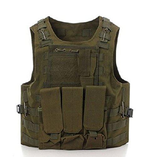 Gilet militare per caccia e softair con fondina, Army Green